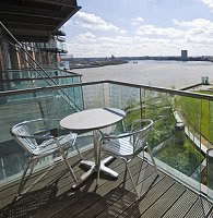 Glass balcony railing.