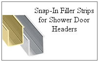 Snap-in filler strips for a glass shower.