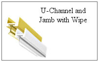 U-channel and jamb with wipe for a glass shower.