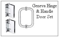 Geneva hinge and handle set for a glass shower door.