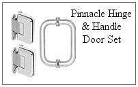 Pinnacle hinge and handle set for a glass shower door.