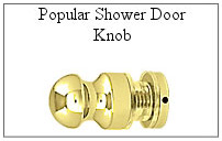 Brass handle for glass shower door.