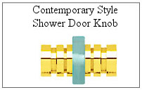 Contemporary style door knob for glass shower door.