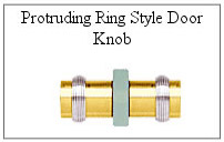 Protruding ring style door knob for glass shower door.