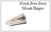 Notch free pivot mount hangers for glass shower doors.