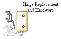 Hinge replacement hardware for glass shower doors.