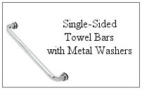 Single-sided towel bar with metal washers
