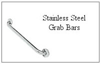 Stainless steel grab bar.