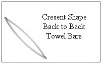 Crescent shaped back-to-back towel bar.