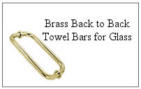 Brass back-to-back towel bar for glass shower door.