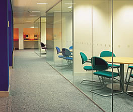 Glass wall in office.