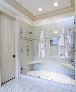 Large, 2-person glass shower.